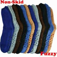 6 Pairs Men Soft Cozy Fuzzy Socks Non-Skid Plain Solid Winter Home Slipper 10-13