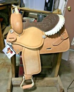 "New Double T Western Saddle 14"" Seat Argentine Leather Barrel Racing Horse Tack"