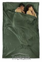 DOUBLE Silk Liner Sleeping Bag Hostel Camping Travel Inner Sheet Sack for COUPLE