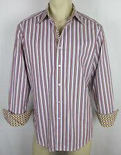 Robert Graham FLIP CUFF shirt long sleeve button front Stripes Mens Size L