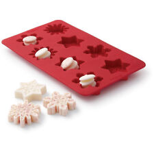 Wilton 8 cavity Red Silicone Snowflake Candy Bark Treat Microwave Safe Mold Tray