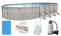 """Above Ground 15'x30'x52"""" Oval Meadows Swimming Pool w/ Liner, Step, Filter Kit"""