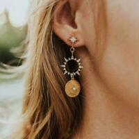 Boho Frauen Kristall Sonne Mond Ohr Bolzen Tropfen Ohrringe Haken Baumeln C2R1