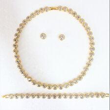 Tennis Necklace Earrings Gold Bridal Bracelet set Swarovski Elements Studs
