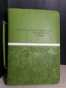 Christian Art Gifts Large Bible Cover Green Flowers Jeremiah 29:11 Handle Zip Up