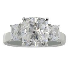 GIA Certified Diamond Engagement 3 Stone Ring 2.50 carat Cushion Cut 18k Gold