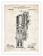 """FIRST HARLEY MOTORCYCLE ENGINE INVENTION POSTER 1914 US PATENT PRINT 18X24"""" Gift"""