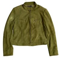 Lafayette 148 New York Suede Cafe Crop Jacket Green Leather Coat Size 10