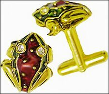 """Frog Cufflinks 24 kt Gold-plate on Red & Green Enamel with Crystals 5/8"""" x 5/8"""""""