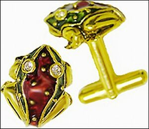 Father's Day Frog Cufflinks Red/green 24 Kt. Gold-plated Museum Store Collection