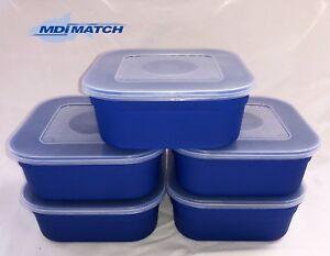 MDI Match 1 Pint Fishing Blue Maggot Bait Boxes + Lids Pack of 5