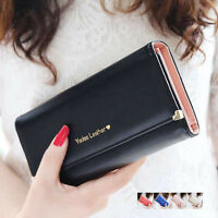 Fashion Women New PU Leather Wallet Case Purse Lady Long Handbag Card Holder