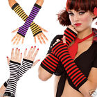 Stretchy Gothic Punk Rave Costume Fingerless Long Gloves Striped Arm Warmers OS