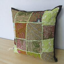 """16"""" Green Cushion Throw Pillow Cases Indian Cushion Covers Home Sofa Urban Decor"""