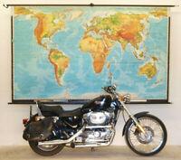 Schulwandkarte Wandkarte physische Weltkarte 269x164cm vintage world map 1970