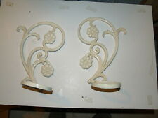 Vintage pair of Cast Iron Wall mount White painted Flower Pot holder