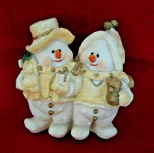 Mr Mrs Snowman Snowlady Couple Cream Gold Statue Figurine 8 Inches Christmas M1