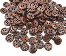 200pcs Red Brown 4 Holes Wooden Buttons Sewing Scrapbooking decoration 12mm