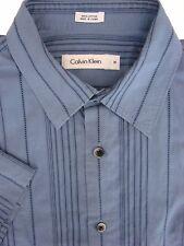 Calvin Klein camicia blu da uomo 16 M-strisce-con texture manica corta
