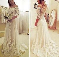 White/ Ivory Mermaid Luxury Lace Wedding Dress Bridal Gown Custom Size All Size