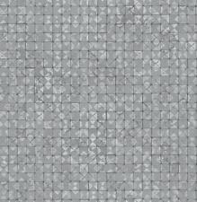 Wallpaper Designer Light Gray Silver Metallic Faux Mosaic Tiles Modern Geometric