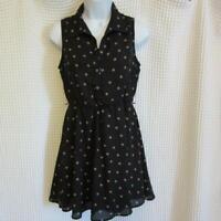 Free Bird Black & Brown Polka Dot Sleeveless Lined Dress sz S SMALL