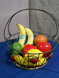 Wire Basket of Ceramic Fruit Banana Orange Lemon Lime Apple