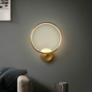 Wall Mounted Gold Lamp Copper LED Nordic Style Decorative 220V Round Light Bulbs