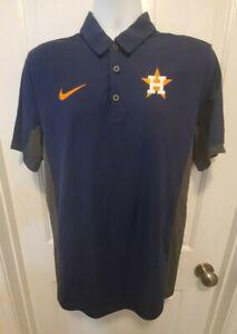 Houston Astros Nike Dri-Fit Baseball Polo Shirt (Men's Medium) Blue/Orange