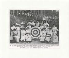 Bogenschießen im Seebade Zoppot: Wettschießen Damen Zielscheibe F_Vintage 01075