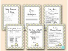 Print Yourself  Elephant, Yellow & Gray, Yellow Dots, Baby Shower Games TLC32