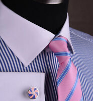 Blue Oxford Thin Striped Business Formal Dress Shirt Contrast White French Cuffs