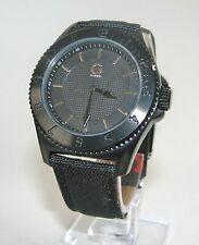 NEW G BY GUESS BLACK CANVAS STRAP+S/STEEL IP BLACK DIAL UNISEX WATCH-G74034G1