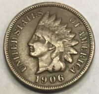 1906  INDIAN HEAD CENT  ****  NICE CIRCULATED COIN - L@@K AT PICTURES!!!!!  #486