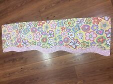 WAVERLY KIDS VALANCE YELLOW PINK FLORAL HEARTS SMALL FLORAL ACCENT 50X16 NICE!