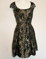 Vestido de fiesta Oasis Negro Oro Art Deco Floral de ajuste de la llamarada Medallón 12