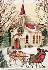 Garden Flag, Religious Christmas, Church, Sleigh, Horses