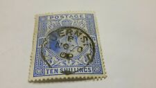 Edward VII GB 10 shillings stamp Sg 265 blue  used in very good condition