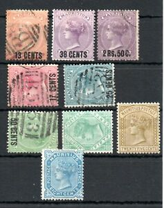 MAURITIUS , 1878 , 1879 , 1882 , nice lot of NINE CLASSIC stamps , MH / USED