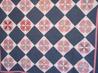 UNUSUAL AMAZING  EARLY INDIGO AND DOUBLE PINK  PINWHEEL QUILT 1880