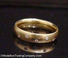 Designer 14k Matte Yellow Gold Burnish Set Diamond 5mm Half Eternity Band sz 10