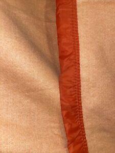 """Vintage Blanket Fieldcrest ? Satin Trim 92"""" x 68"""" Apricot/Peach Color Excellent!"""