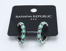New Pair of Silver & Turquiose Tone Hoop Earrings by Banana Republic #BRE37