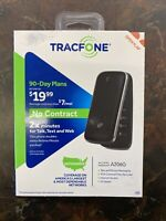 TRACFONE ALCATEL ONE TOUCH A206G FLIP PHONE BLACK  90 Day Plan