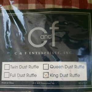 C&F ENTERPRISES GARDEN MEDLEY PINK GREEN PLAID KING BED SKIRT/DUST RUFFLE - NEW