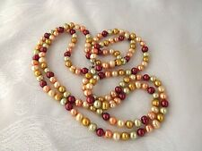 """NEW HONORA NECKLACE 54"""" 8MM RINGED PEARL SUNRISE MELON-GOLDEN-CHERRY-CHAMPAGNE"""