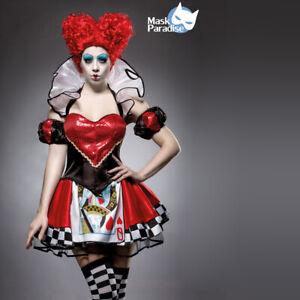Costume Regina di Cuori Carnevale Alice in Wonderland Travestimento Vestito