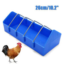 26cm Blue Plastic Trough Chicken Pigeon Poultry Ground Feeder Drinker Cage Feed