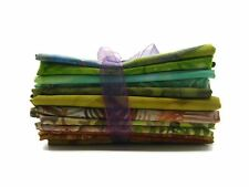 Trapunta MISTERO Pack 10x Green & Brown Batik Tessuto Fat Quarter Bundle 100% COTONE