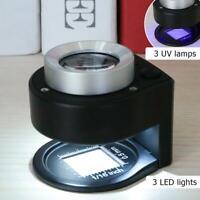 Lupe/Lupe mit 30 x optischem Glaslinse, 6 LEDs, zusammenklappbar, Metall